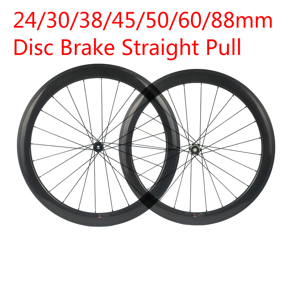 Light Weight Carbon Wheel Road 24/30/38/45/50/60/88mm Clincher/Tubular Disc Brake Carbon Bike Wheels 700C 1420 Sapim Spokes 23mm цена
