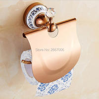Livraison Gratuite De Luxe Salle De Bains Wall Mount Chrome Or Rose Or Couleurs Cristal Porcelaine Toilettes Porte Rouleau de Papier Tissu ZR2312R
