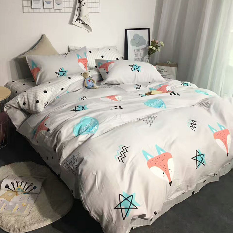 Fox Cartoon Reactive Printed Bedding Set for Girls Boys Bedroom Decor Cotton Bedspread Duvet