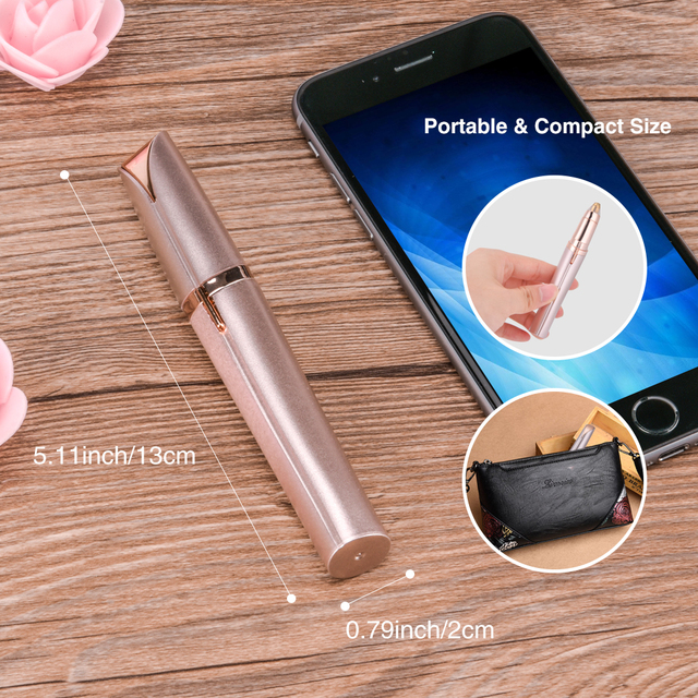 Electric Face Eyebrow Hair Remover Epilator Mini Eyebrow Shaver Razor Instant Painless Portable Epilator with eyebrow pencil 3