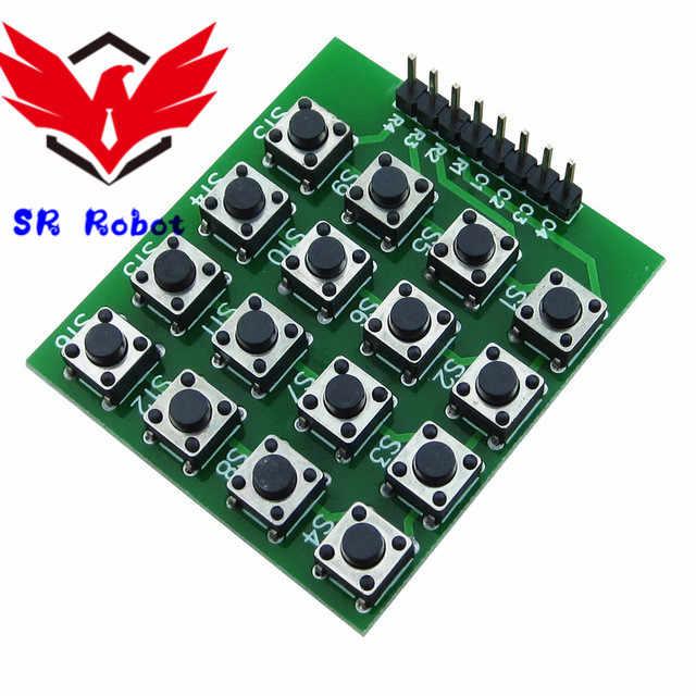 8pin 4x4 4*4 Matrix 16 Keys Button Keypad Keyboard Breadboard Module Mcu For Arduino Starter Learning Diy Kit Robot Toy Button