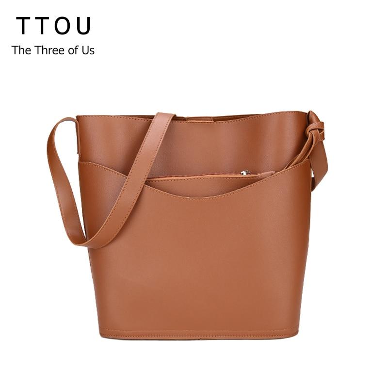 TTOU Women Casual Totes Bag Fashion Vintage Large Shopping Bag Designer Girl Crossbody Bag Solid Shoulder Bag Female Top Handle