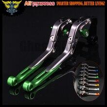 Green Titanium CNC Adjustable Motorcycle Brake Clutch Levers For font b Kawasaki b font font b