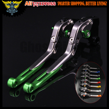Green+Titanium CNC Adjustable Motorcycle Brake Clutch Levers For Kawasaki Z750 (not Z750S model) 2007 2008 2009 2010 2011 2012