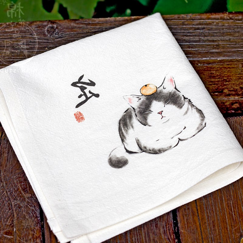 White Hand Painting Cat Cotton Handkerchief Gift Chinese Style Women Fashion Accessories Thicken Natural Linen Small Kerchief