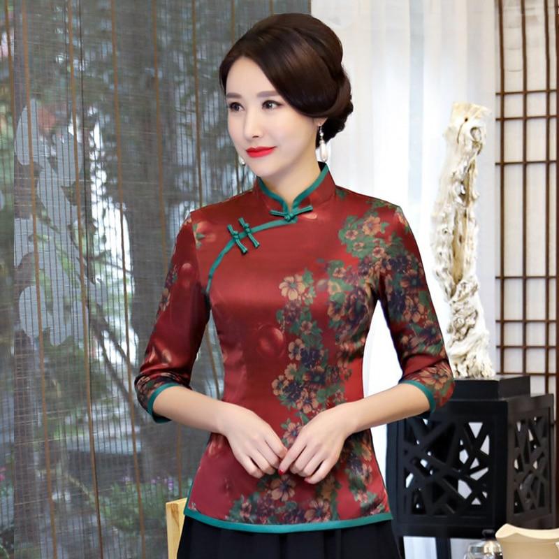 Nouveau été femmes chemise hauts traditionnelle chinoise dame soie Blouse col Mandarin Qipao Mujer Camisa taille S M L XL XXL XXXL
