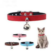 Custom Cat Collar Soft Microfiber&leather Material Personalized Bell For Kitten Puppy Safe Pink Red Chihuahua Pet Accessories