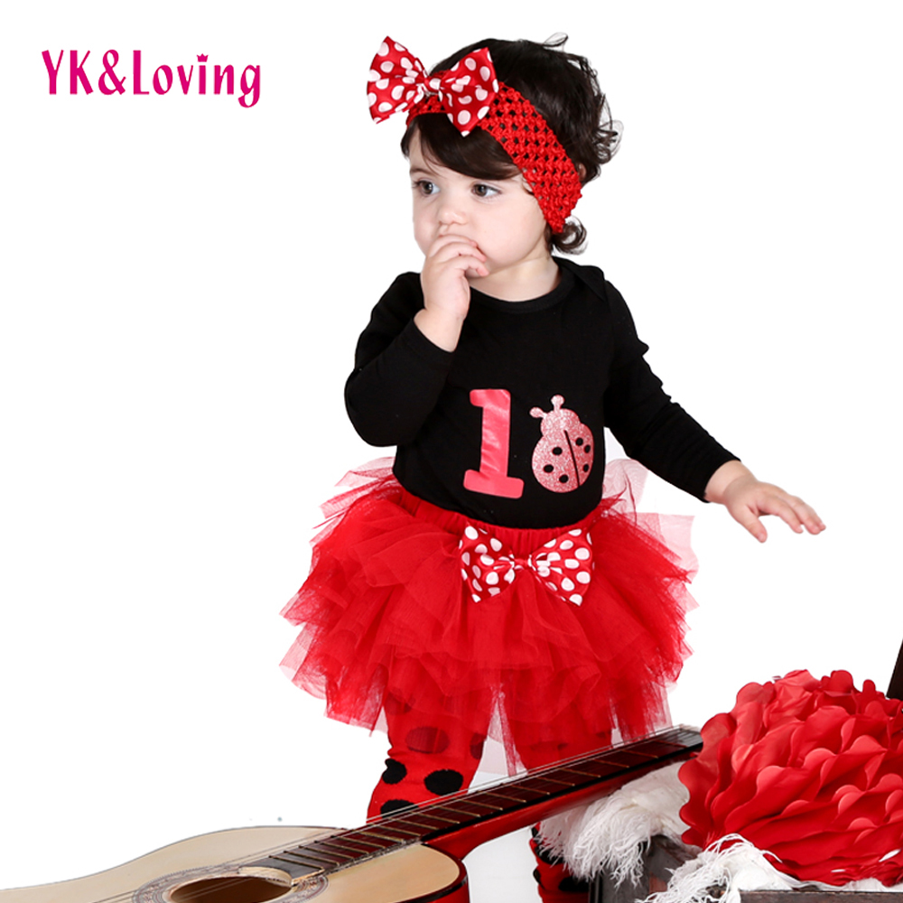 Fashion Baby Girl Long sleeve Bodysuit Ladybird Print Clothes Ruffle Tutu Skirt Polka Dots Leg Warmer 3 Pcs Headband Clothes Set 4pcs set newborn baby clothes infant bebes short sleeve mini mama bodysuit romper headband gold heart striped leg warmer outfit