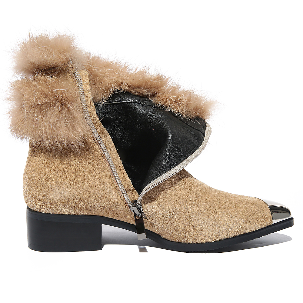Winter Boots Women Ankle Boots Genuine Leather Women Boots Suede Fashion Real Fox Fur Women's Shoes Zip Boots zapatos mujer