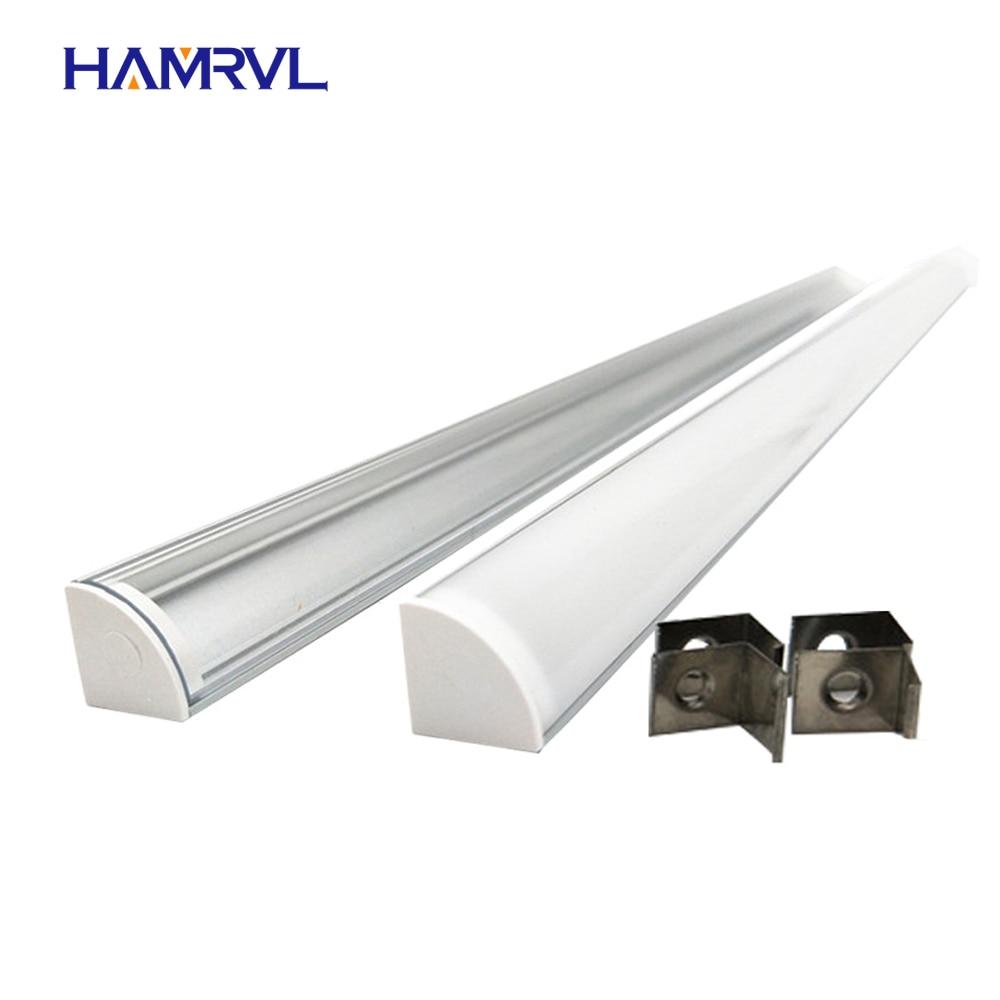 5pcs 20inch 0.5m 12mm Pcb 45 Degree Corner Led Aluminium Profile,  Aluminum Channel, V Shape Housing Milky Clear Cover Clips