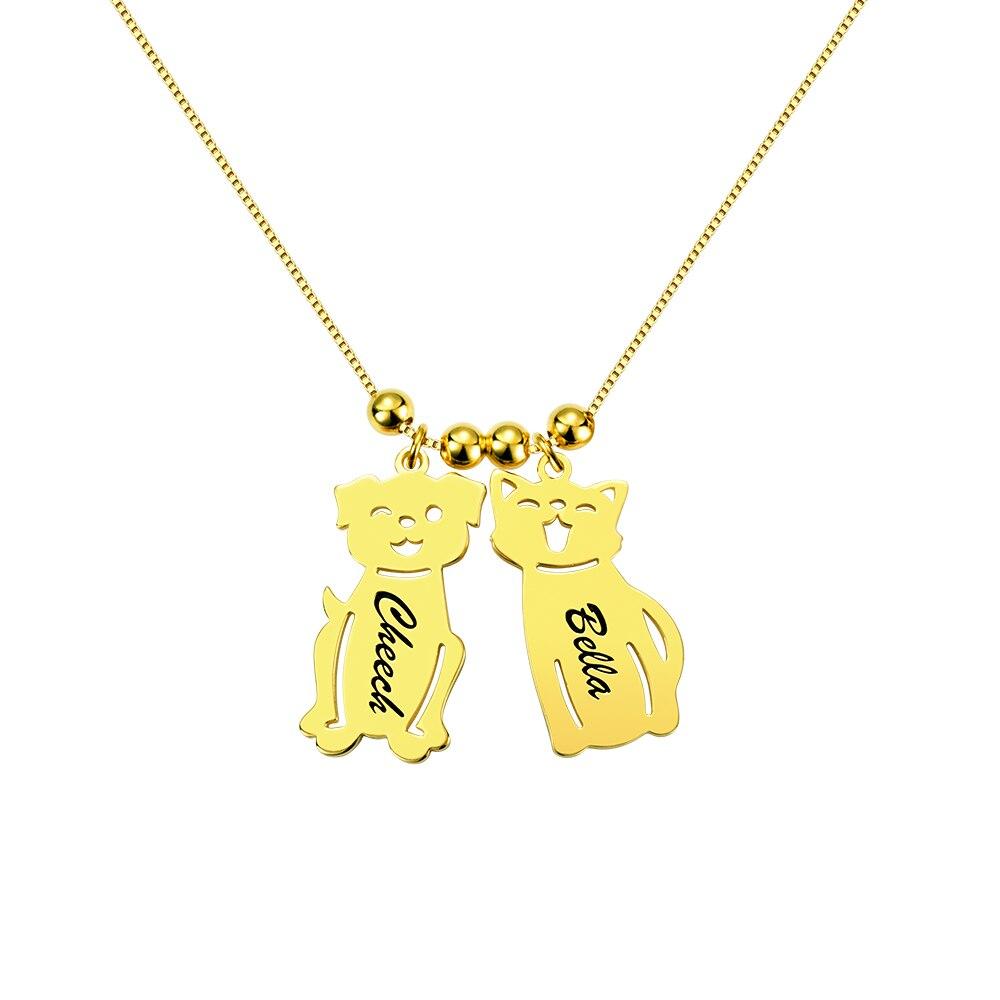 AILIN personnalisé gravé nom Date bébé garçon fille chien chat collier perles charme chaîne pour femmes enfant anniversaire famille cadeau