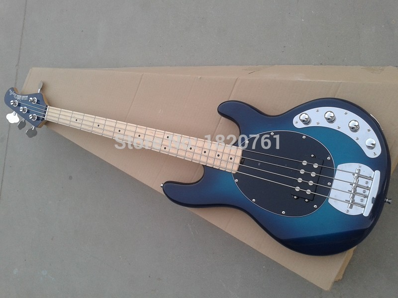 Free shipping Musicman 4 strings bass music man stingRay blue electric bass guitar with 9V Battery active pickups    14510 стеллаж для cd дисков хай тек купить для дома