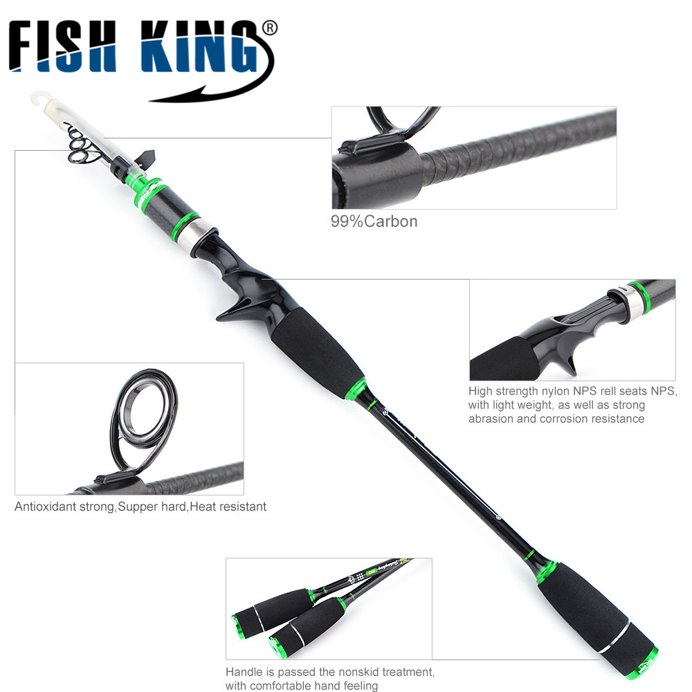 FISH KING Fishing Rod 1.8M/2.1M/2.4M2.7M/3.0M Carbon Fiber Spinning/Bait casting Rods Sections Travel Rod Lure Fishing Tackle