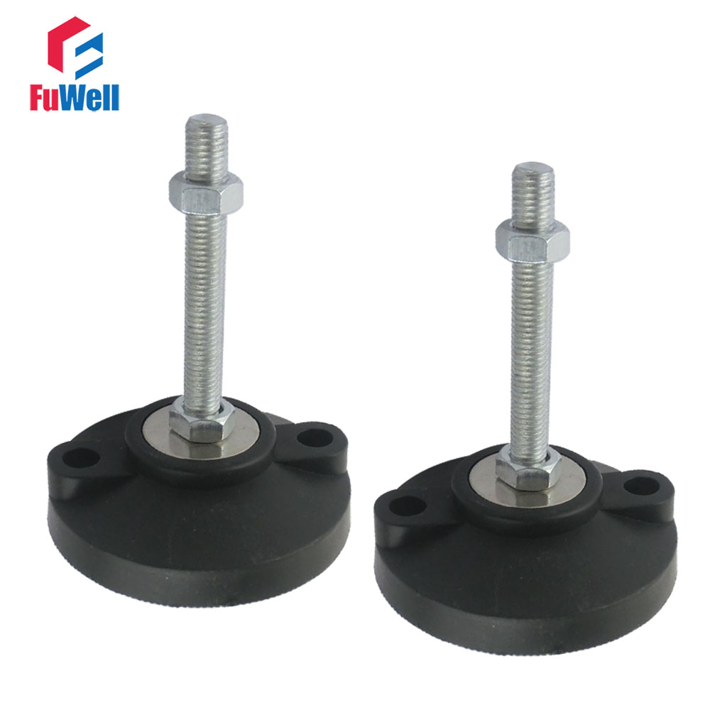 2pcs M20 Thread Adjustable Foot Cups Reinforced Nylon Base 100mm Diameter Articulated Feet 100/120/150mm Length Leveling Foot