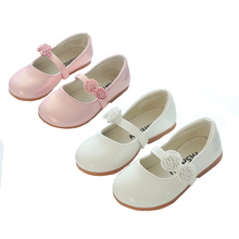 White Pink Flower Children Little Girls Kids Leather Party Wedding Princess Dress Shoes