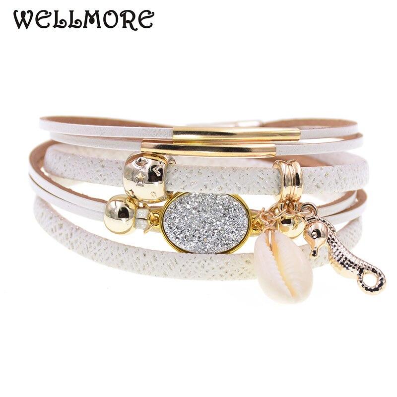 WELLMORE sea horse leather bracelets charm beaded bracelets for women girl gifts Bohemian wrap bracelets wholesale dropshipping