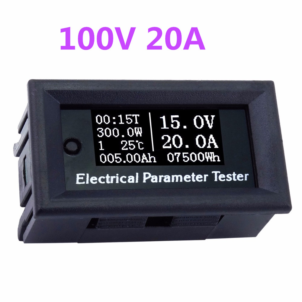 Digital Led Display Voltmeter Ammeter Voltage Current Time temperature Power Capacity Meter DC 100v 20A 39%off dc0 75v 20a multifunction dual display digital voltmeter voltage meter electric vehicle power meter dc digital ammeter