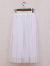 FOLOBE 3 Layers Vintage Fashion Ladies Pleated Skirts Long Tulle Skirts Solid Mesh Skater Skirt Tutu Skirts ZS01