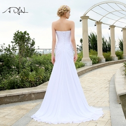 ADLN Stock Chiffon Wedding Dresses with Rhinestones Robe de Mariage Sweetheart vestido de noiva Cheap Beach Bridal Gowns 2