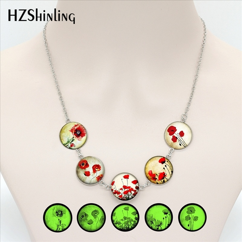 Jewelry Sets Hes-030 Red Poppy Studs Earrings Field Of Poppies Heart Necklace For Women Floral Art Glass Dome Jewelry Gifts Men Women Modern And Elegant In Fashion