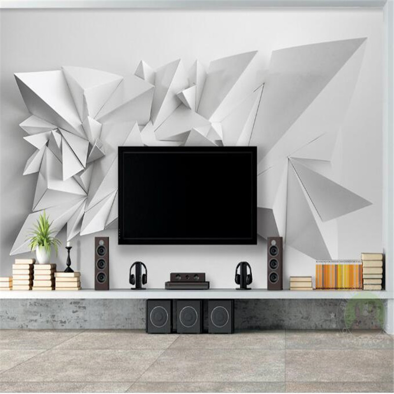 custom modern simple 3d mural wallpaper triangle high quality non-woven TV sofa background wallpaper home decor for study room custom 3d photo mural wallpaper tv background wallpaper bedding room dynamic sports car 3d non woven wallpapers home decor