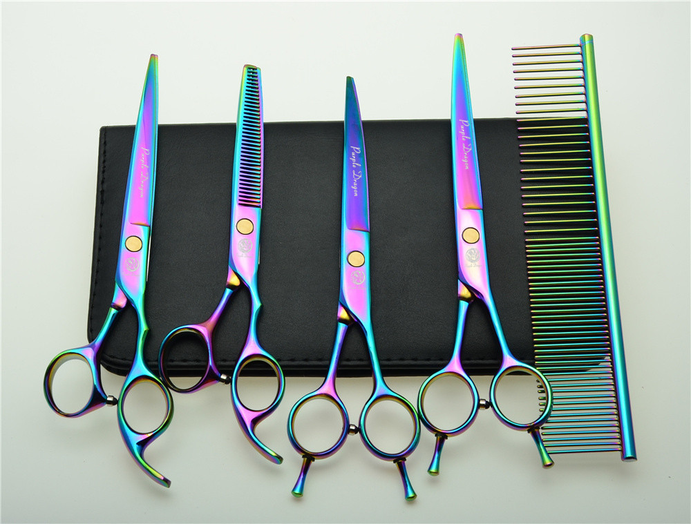 5Pcs Set 7'' 19.5cm Colorful Professional Hair Hairdressing Scissors Comb+ Cutting Shears+Thinning +UP/Down Curved Shears Z3002C 3pcs suit 7 19 5cm jp kasho professional hair hairdressing scissors cutting shears thinning scissor up curved shears h3001