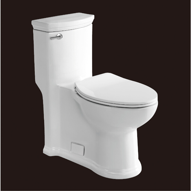 2016 hot sales water closet one-piece toilet S-trap toilets with PVC adaptor PP soft close seat AST364 UPC certificate