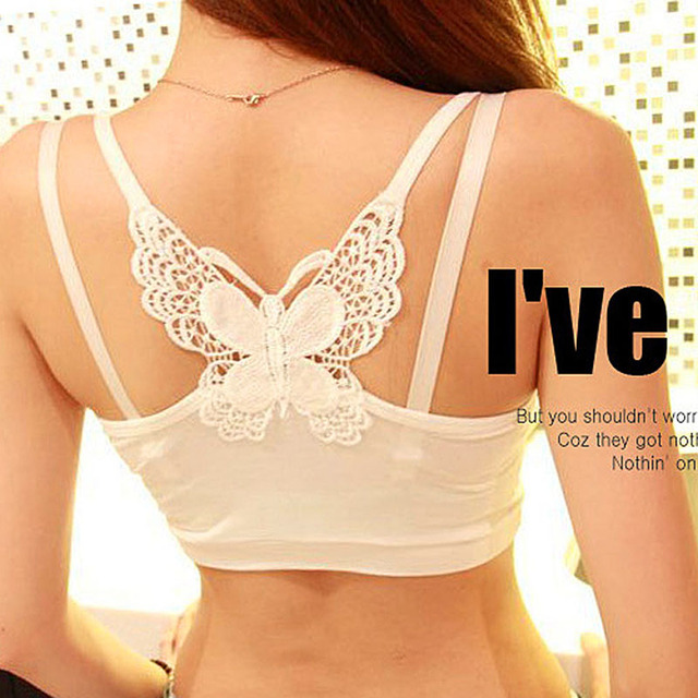 New Cute Butterfly Sexy Underwear Prevent Exposed Lace Wrapped Women Chest Black white Brassiere Bra