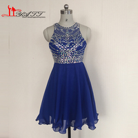 2016 Real Picture Best Selling High Quality Royal Blue Chiffon Short Crystal Cheap Homecoming Dresses Women Party Gown Liyatt