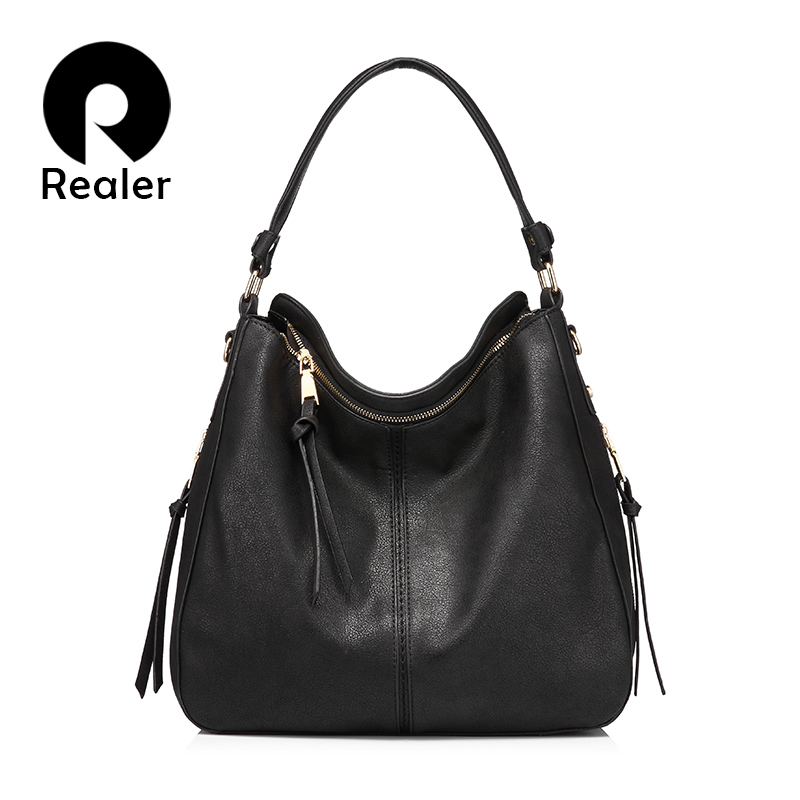b32305098e7b REALER brand handbag women shoulder bag female large tote bags hobo soft  artificial leather ladies crossbody messenger bag purse