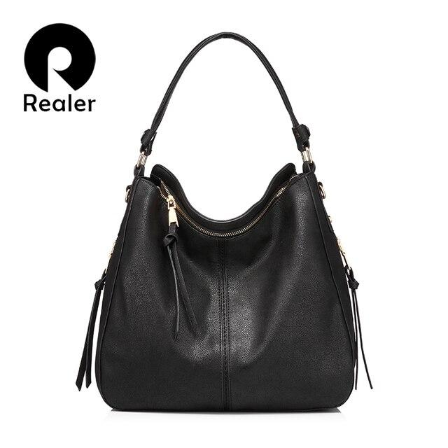 Realer Brand Handbag Women Shoulder Bag Female Large Tote Bags Hobo Soft Artificial Leather Las Crossbody