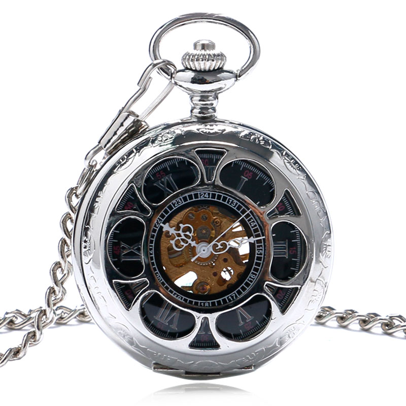 Hollow Case Roman Numeral Dial Pocket Watch Hand Wind Mechanical Men Watches Silver Color Vintage Style Man Clock Xmas Gifts