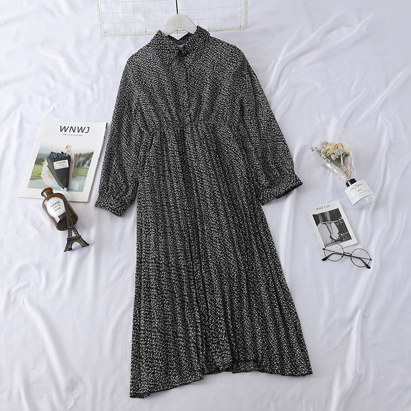 HELIAR 2019 Spring Women Dress Elegant Evening Party Elastic A-Line Chiffon Dress Lady Floral Print Pleat Casual Dresses 4