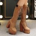Marca Nuevo Otoño Rodilla Botas Altas Mujeres de Tacón Alto de La Moda Tacones gruesos Zapatos de Plataforma de Las Mujeres Botas Casual Botas de Goma Para mujeres