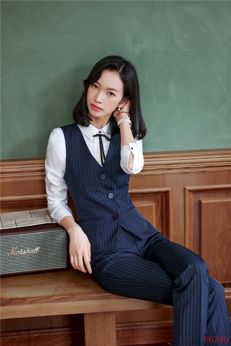 Pantalon Noir Noir Top Bleu Conceptions Formelle Bureau Costumes Femmes Styles Ensembles Avec Dames Uniformes marine Gilet D'affaires Et wHHxYqzp4
