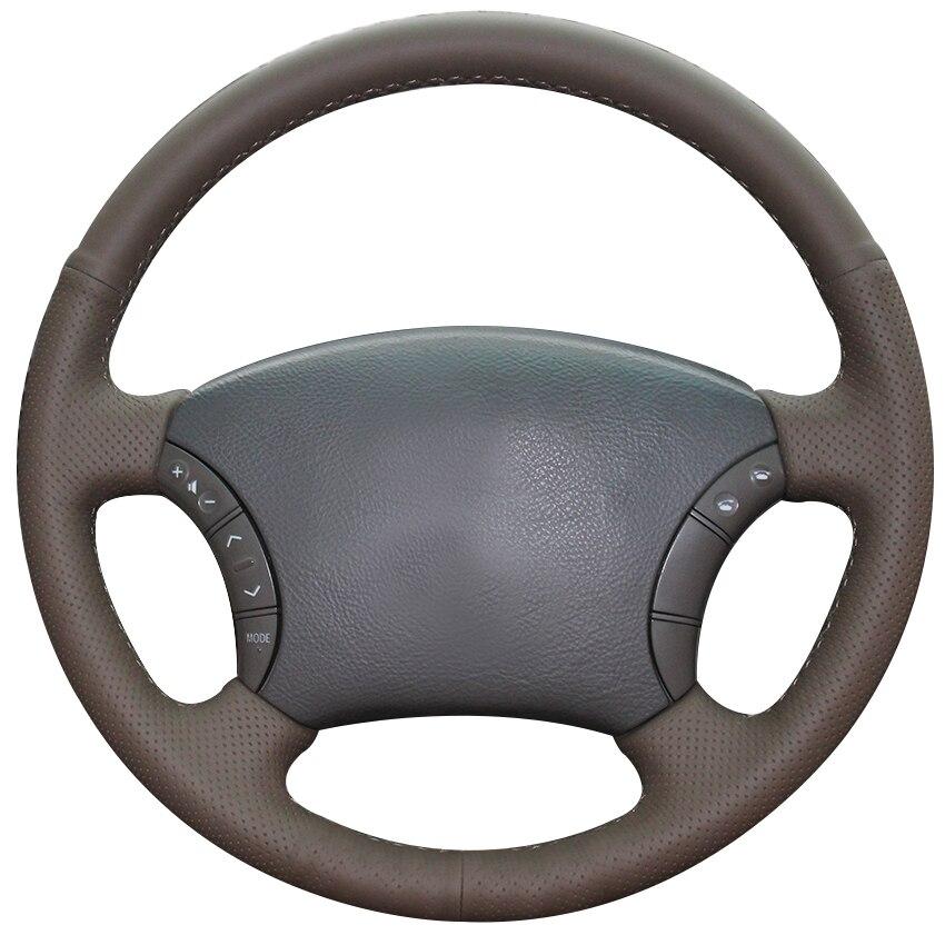 Dark Brown Natural Leather Car Steering Wheel Cover For Toyota Land Cruiser Prado 120 Land Cruiser 2003-2007 Tacoma 2005-2011
