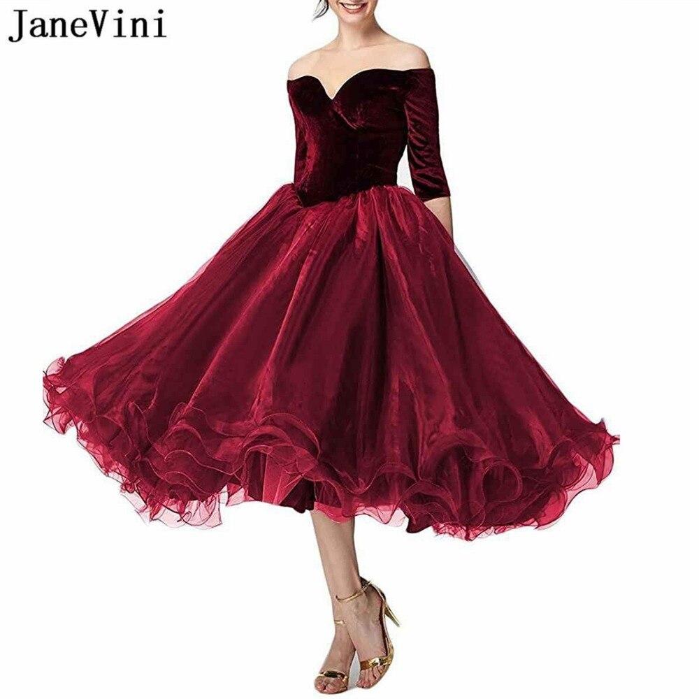 Robe de bal élégante JaneVini robe de bal bordeaux pour femme de grande taille col en V Organza longueur de thé robes de bal formelles Vestidos Largos