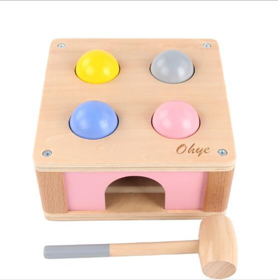 Children's piling platform puzzle baby early education wooden toys 1-2-3 years old Knocking hammer table ball