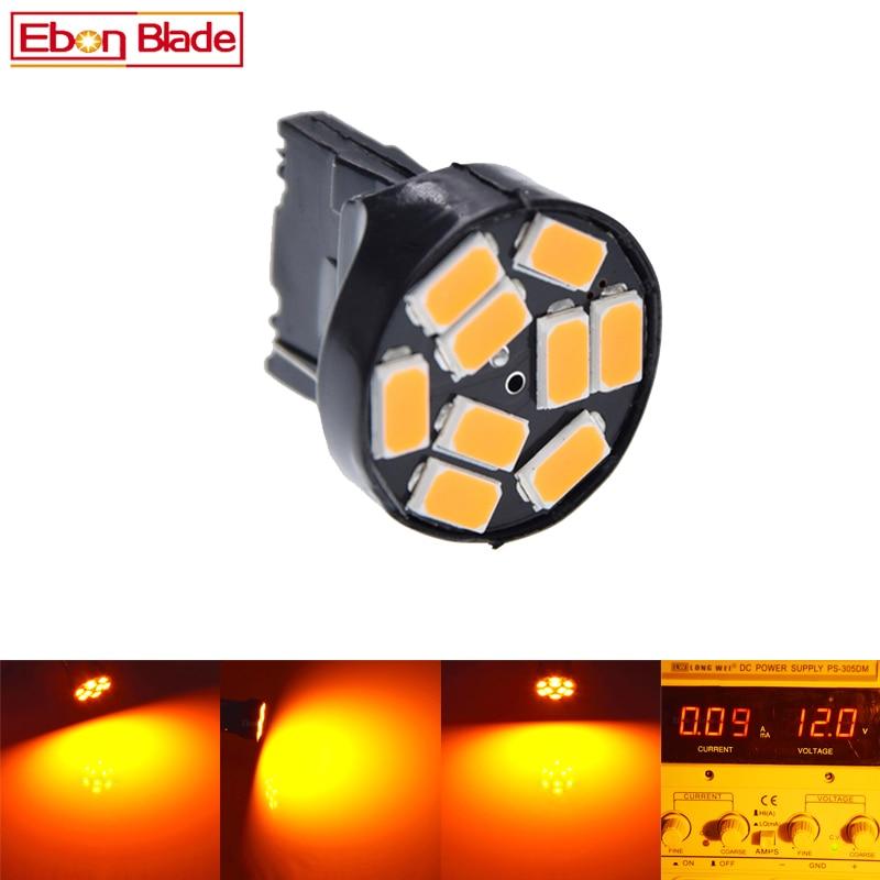 2pcs Yellow Amber Orange T20 7440 W21W 5630 5730 9SMD LED Bulb Car Turn Signal Light 12V DC Free Shipping