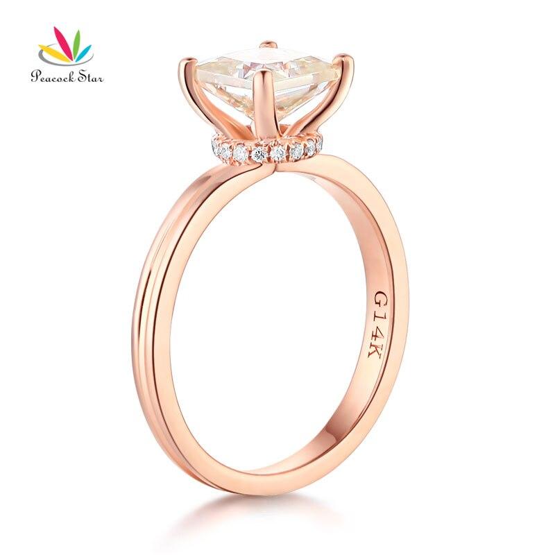 Peacock Star 14K White Gold 1 Carat Moissanite Diamond Wedding Engagement Ring Fine Gold Jewelry