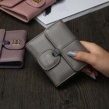 2017 neue Marke frauen Europa Und Die Vereinigten Staaten Aus Echtem Leder Kurzen Absatz Kleine Brieftasche Frauen Einfache Zwei Falten geldbörse