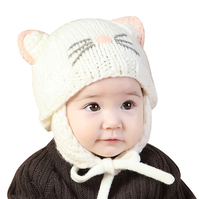 9da89692c60 Knitted Baby Girls Hat Cute Cat Ears Beanie Ear Protection Hat For Girls  Handmade Crochet Cotton