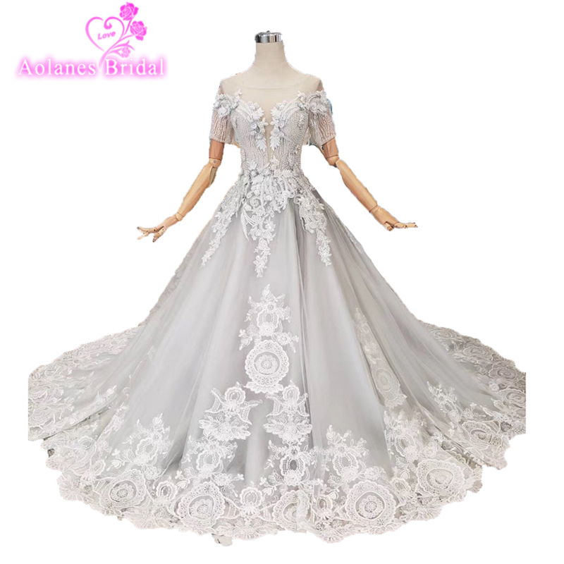 Sparkly Gray Luxurious Lace 2019 Prom Dresses With Beading A-line Short Sleeve Tulle Long Prom Gown Formal Elegant Evening Dress