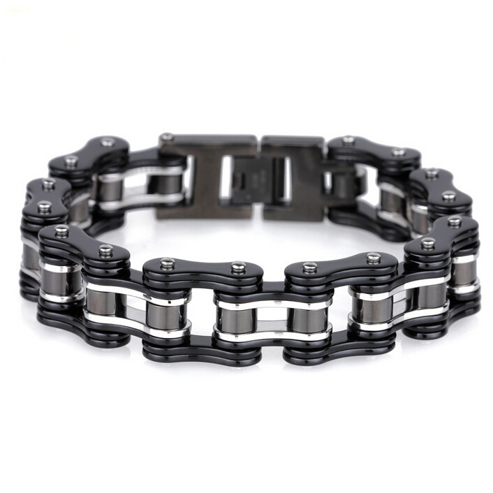 16mm Wide Black Stainless Steel Man Bracelet Male Cool Biker Motorcycle Chain Friendship Mens Bracelets 2018 Armband Trustylan In Link