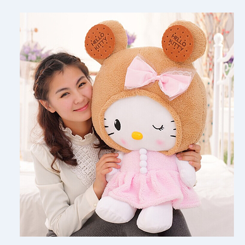 Cute Cookies Hello Kitty Cat doll Lace cushions birthday gift wholesale bebe Sleep Doll appease Baby Plush Toys new arrival sitting height 30cm hello kitty plush toys hello kitty toys super lovely baby doll classic toys for girls kids gift
