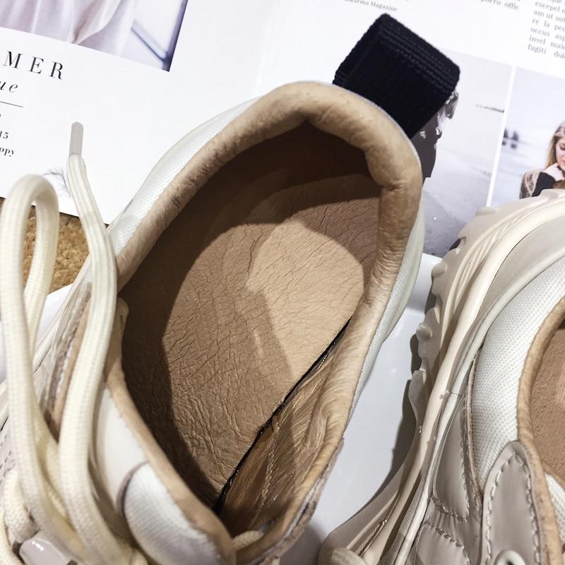 Cuir Blanc 2018 Dirigeants Chaussures En Riz Casual Mujer White Bout Épais Femmes Rond Piste Fond Lacent Silla Femme Zapatillas Vache vnxARv