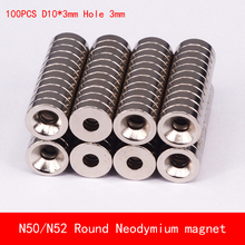 100pcs N52 N50 Super Strong Round Neodymium Countersunk Ring Magnets 10mm x 3mm Hole Rare Earth
