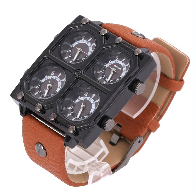 Shiweibao Sports Mens Watches Dual Time Military Quartz Men Watch Brand Leather Male Wristwatches Hour Y158