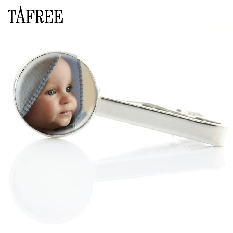 TAFREE Custom Picture Tie Clip Handmade Glass Gabochon Jewelry Personality Gift For Husband Wife Father Mother Child NA01