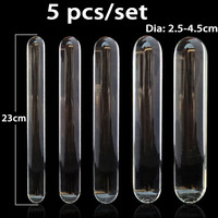 5pcs/Set Smooth Transparent Glass Dildo Double Dildos For Women Glass Penis Masturbator Rod Sex Toys For Woman Adult Products